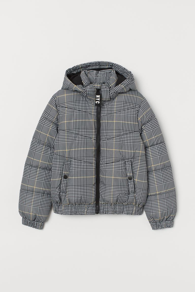 Water-repellent Padded Jacket - Gray/checked - Kids | H&M US