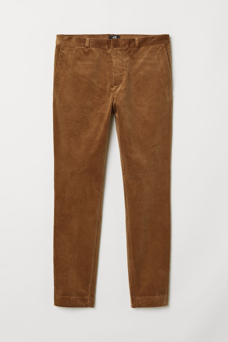 Skinny Fit Corduroy Pants Brown Men H M Us