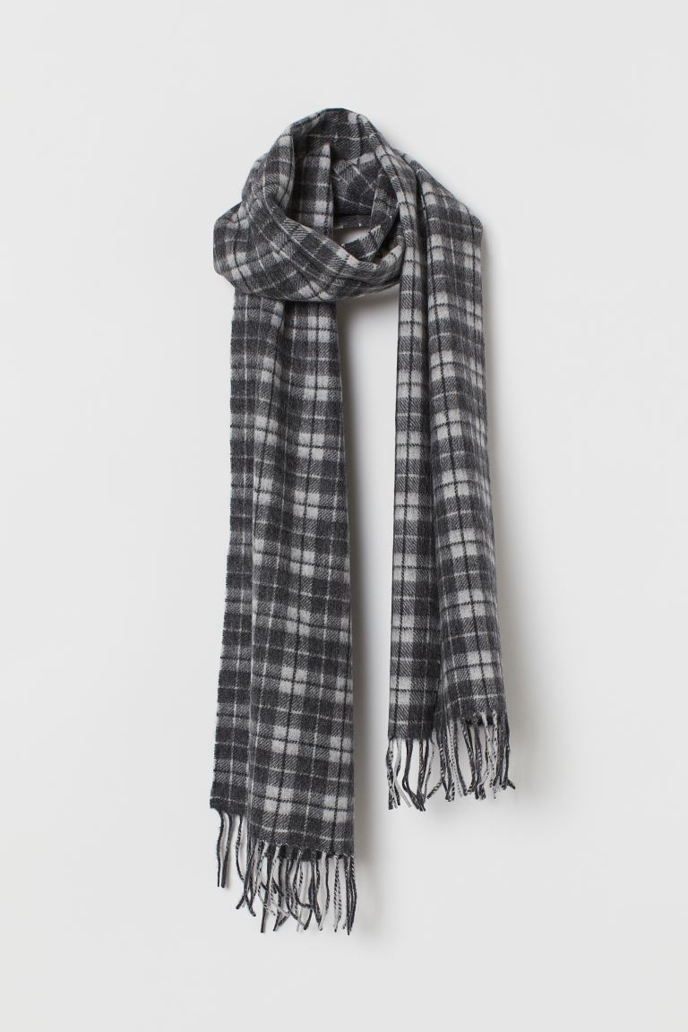 Cashmere scarf - Dark grey/Checked - Men | H&M