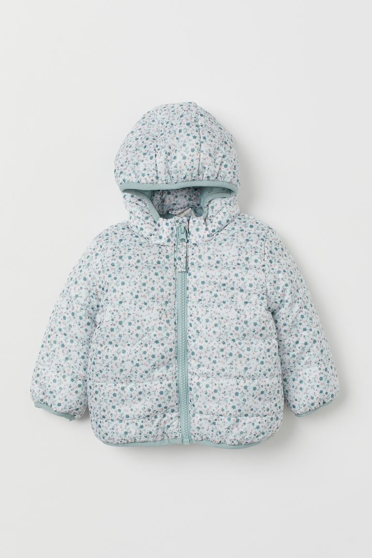Hooded puffer jacket - Mint green/Floral - Kids | H&M