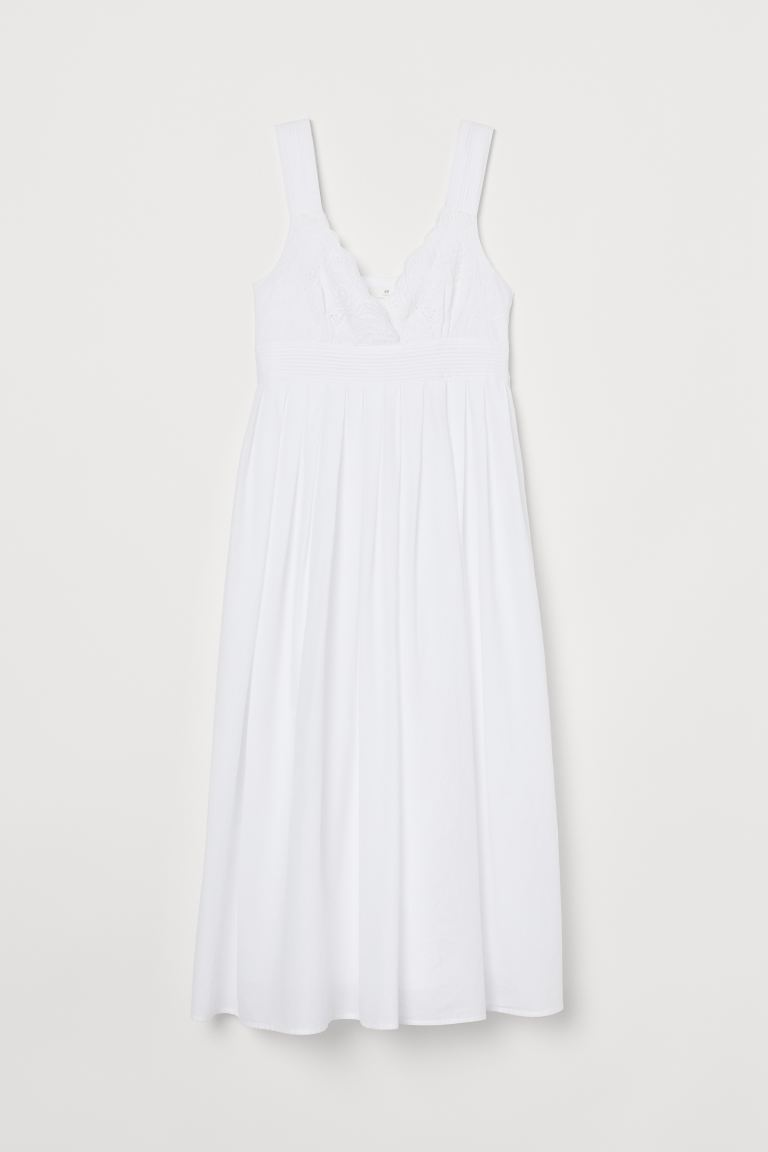 Cotton Dress with Embroidery - White - Ladies | H&M CA