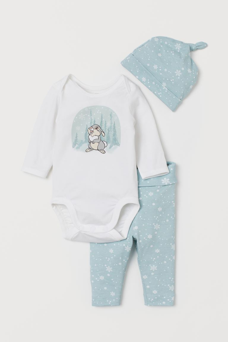 3-piece Jersey Set - Light turquoise/Bambi - Kids | H&M US