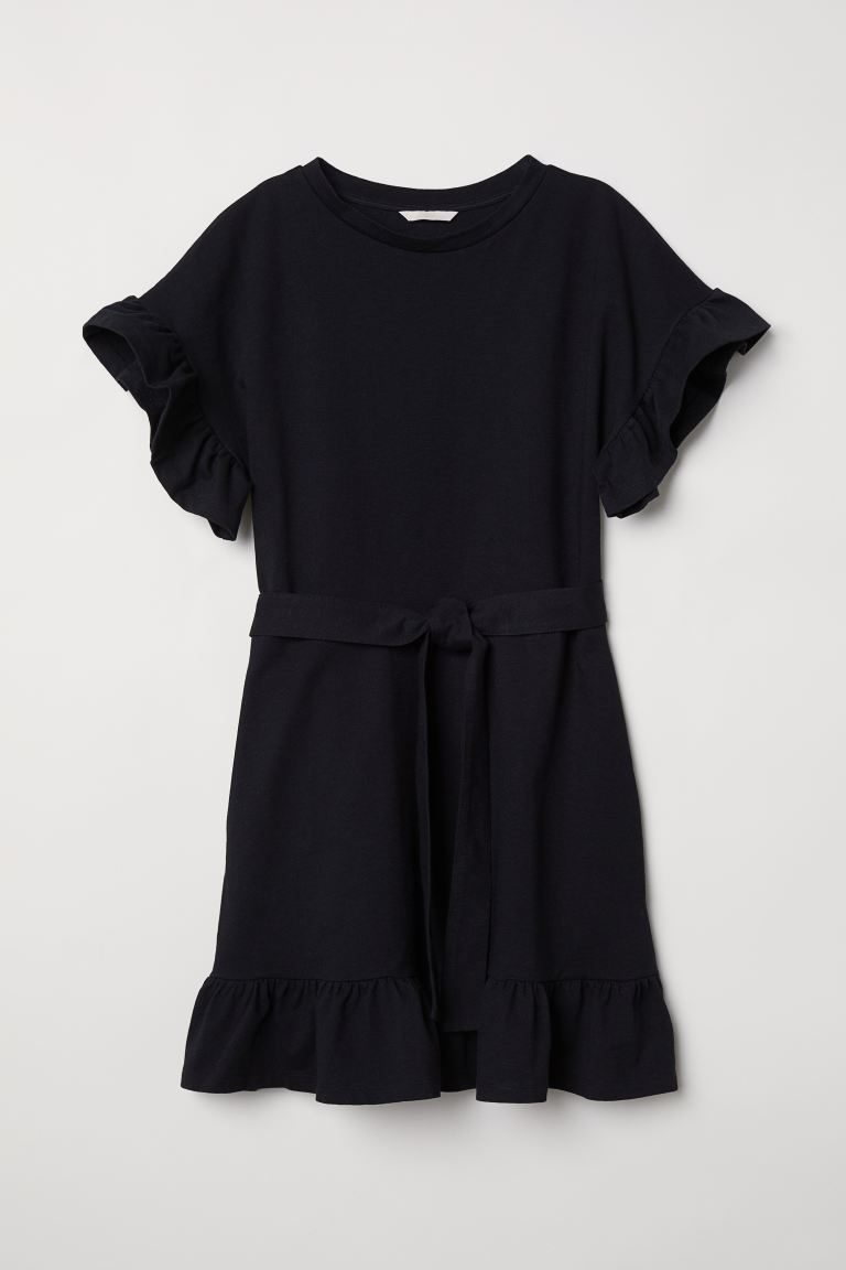 Flounced Jersey Dress - Black - Ladies | H&M CA