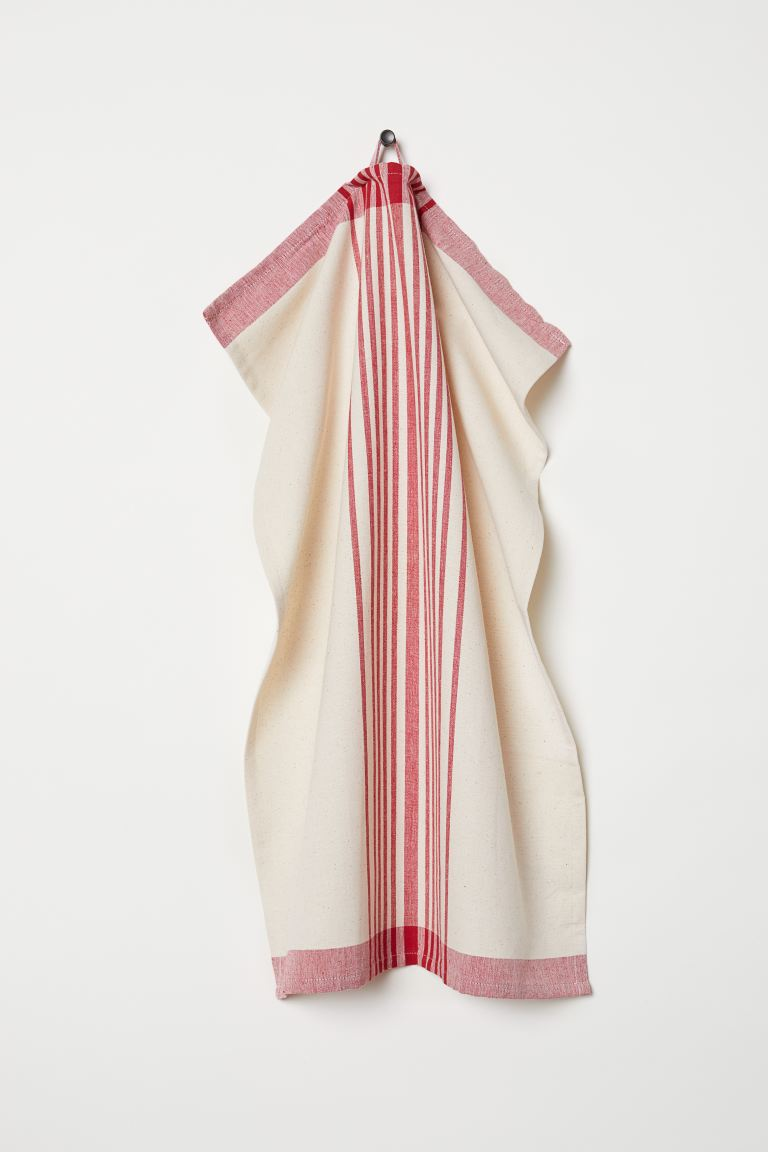Patterned Tea Towel - Natural white/red/striped - Home All | H&M US