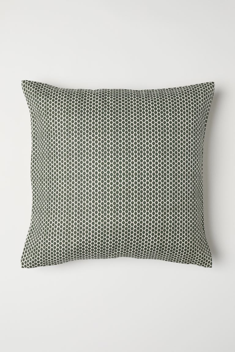 Cotton Canvas Cushion Cover - Green/white patterned - Home All | H&M US