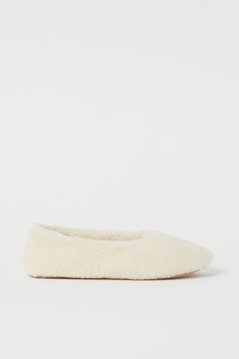 Faux Shearling Indoor Slippers - Cream - Ladies | H&M US