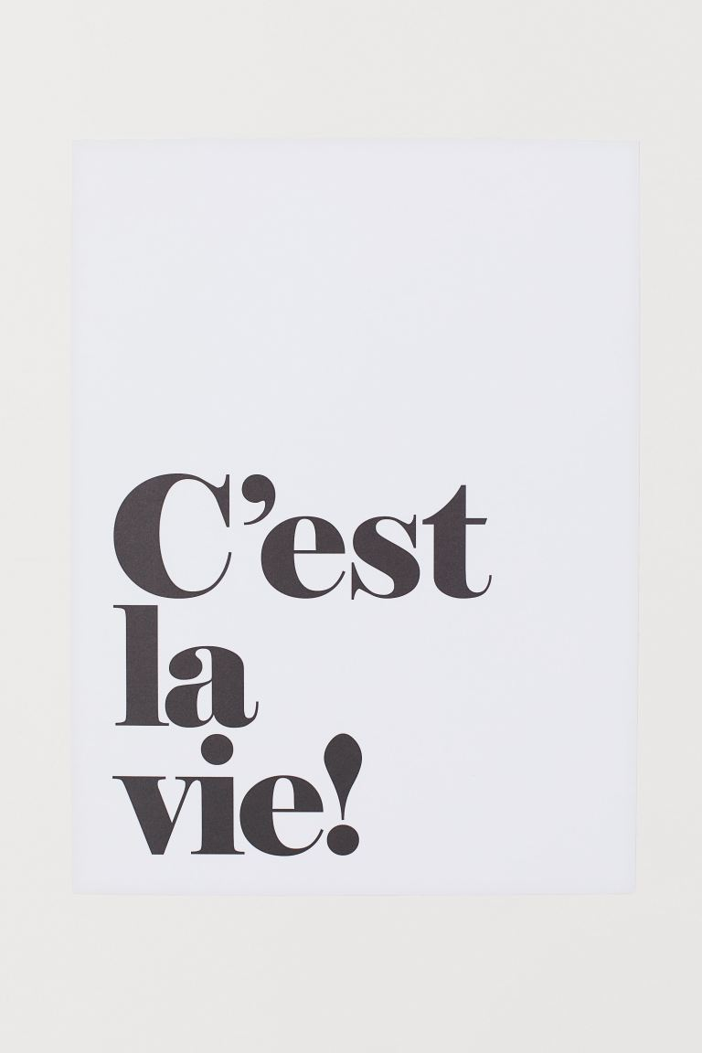 Poster - White/C'est La Vie! - Home All | H&M GB