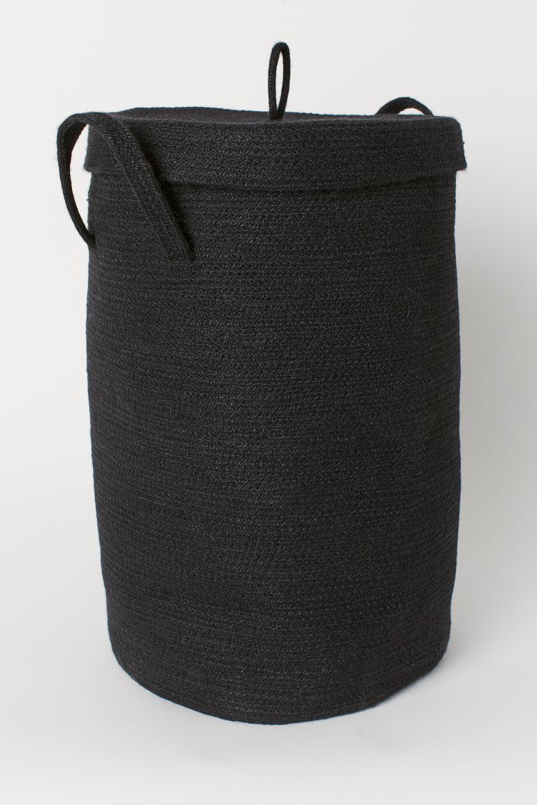 Jute Laundry Basket with Lid - Black - Home All | H&M CA
