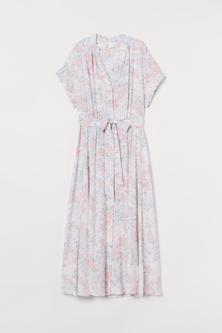 Button-front dress - Light pink/Floral - Ladies | H&M GB
