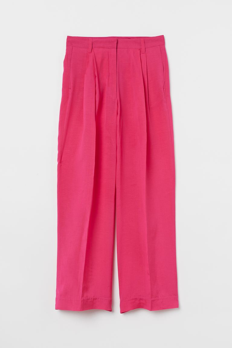 Wide linen-blend trousers - Magenta - Ladies | H&M GB