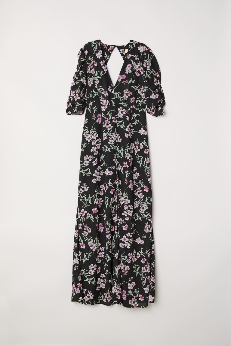 Patterned long dress - Black/Floral - Ladies | H&M GB