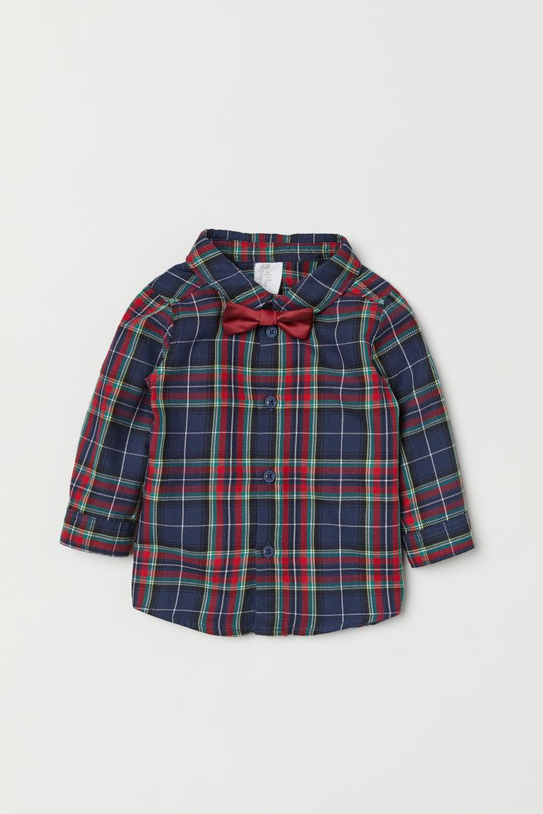 Shirt and bow tie - Red/Checked - Kids | H&M