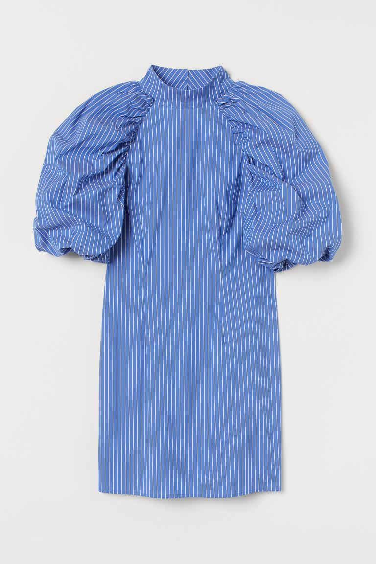 Voluminous-sleeved dress - Blue/White striped - Ladies | H&M GB