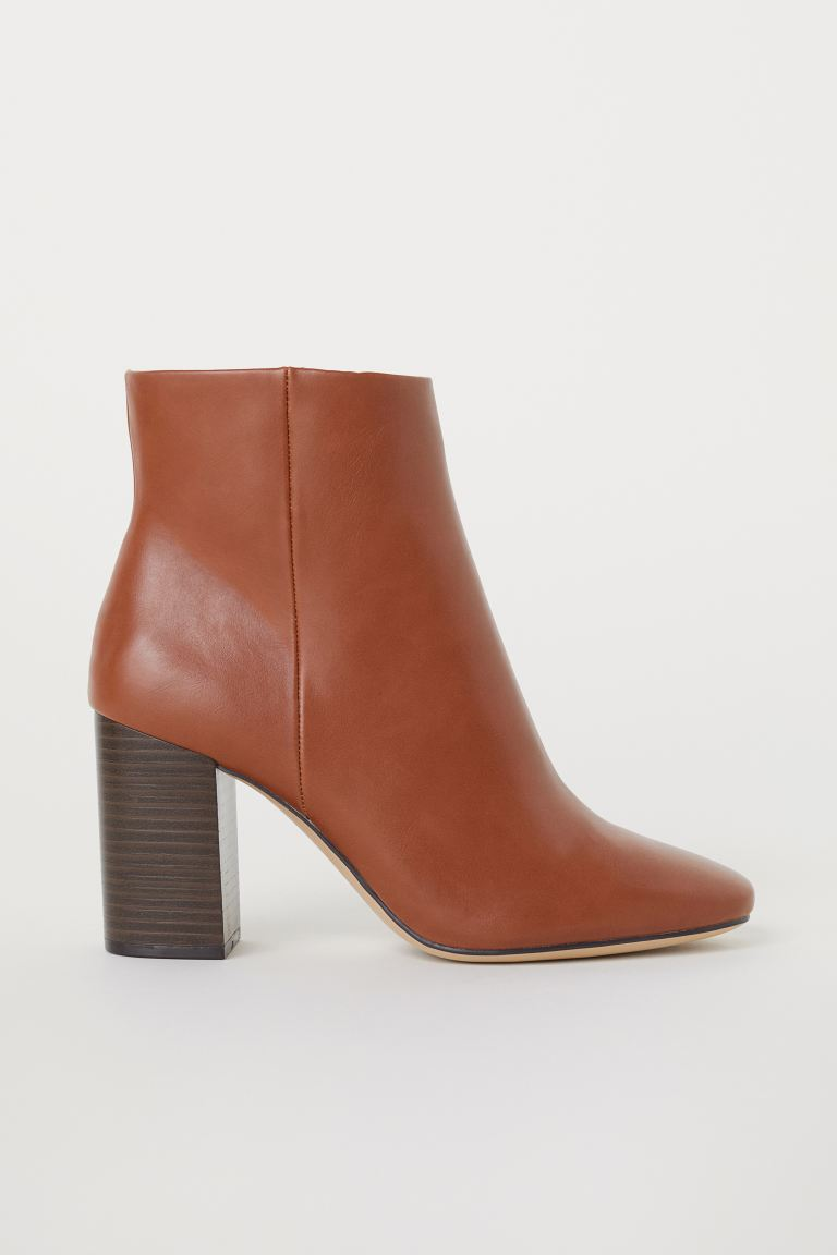 Block-heeled Ankle Boots - Brown - Ladies | H&M US