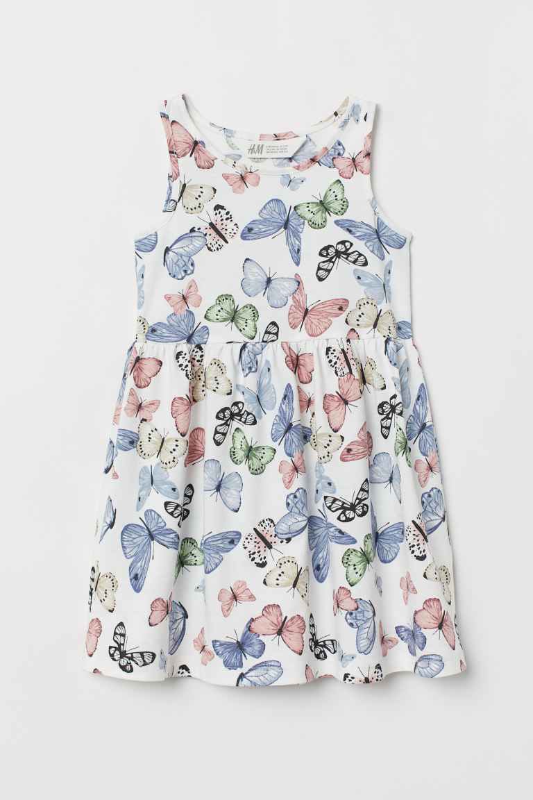 Sleeveless Jersey Dress - White/butterflies - Kids | H&M US