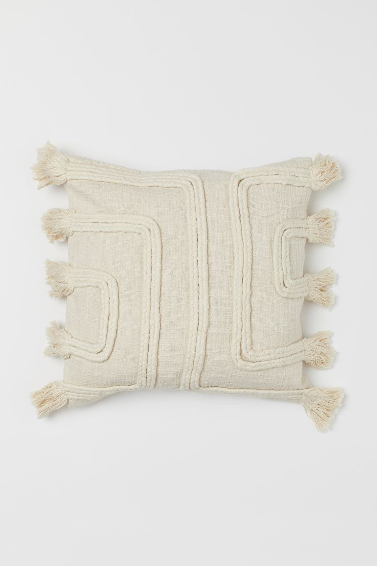 Tasselled cushion cover - Light beige - Home All | H&M GB