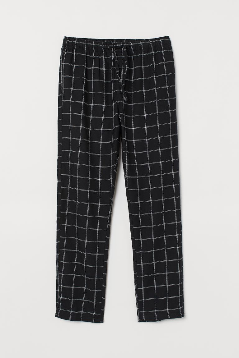 Flannel pyjama bottoms - Black/Checked - Men | H&M