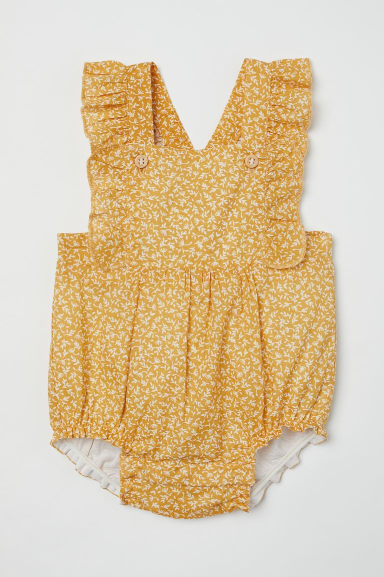 Ruffle-trimmed Overall Shorts - Yellow/white floral - Kids | H&M CA