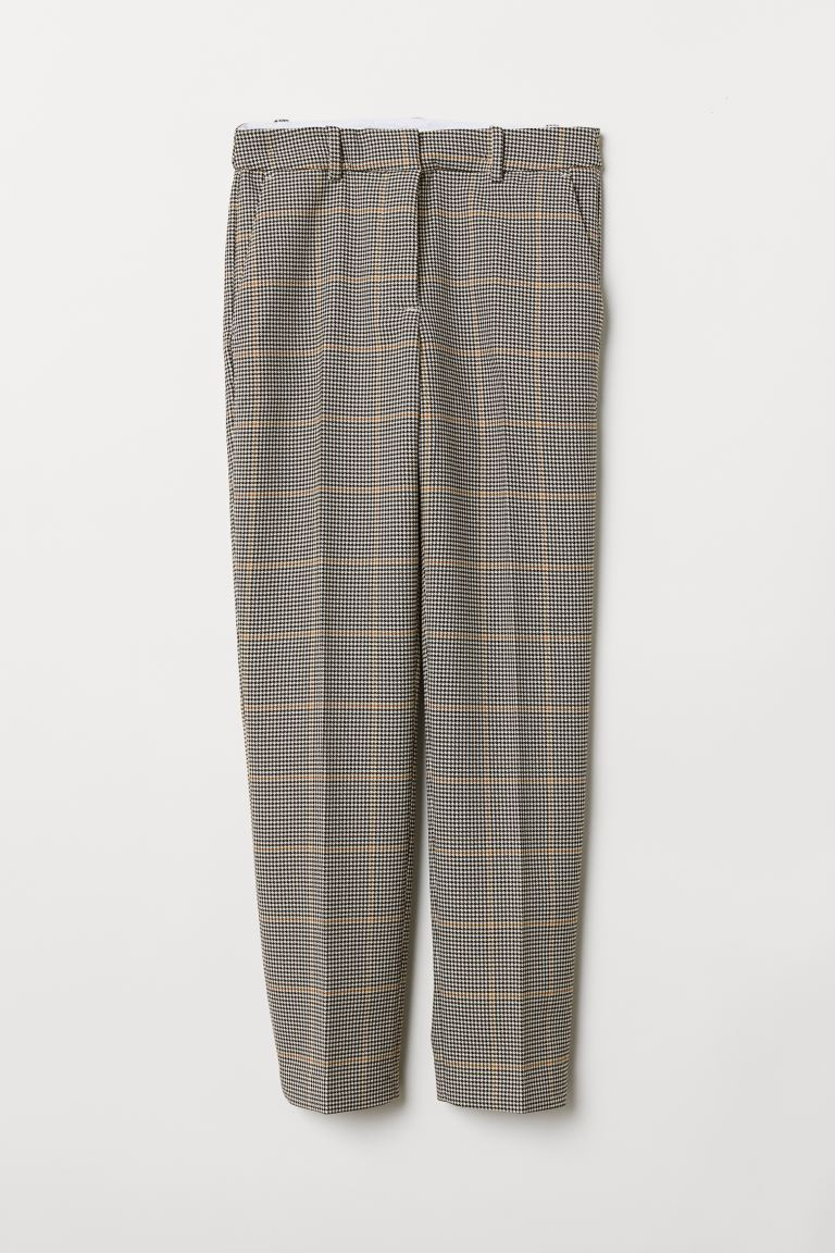 Cigarette trousers - Cream/Black checked - Ladies | H&M GB