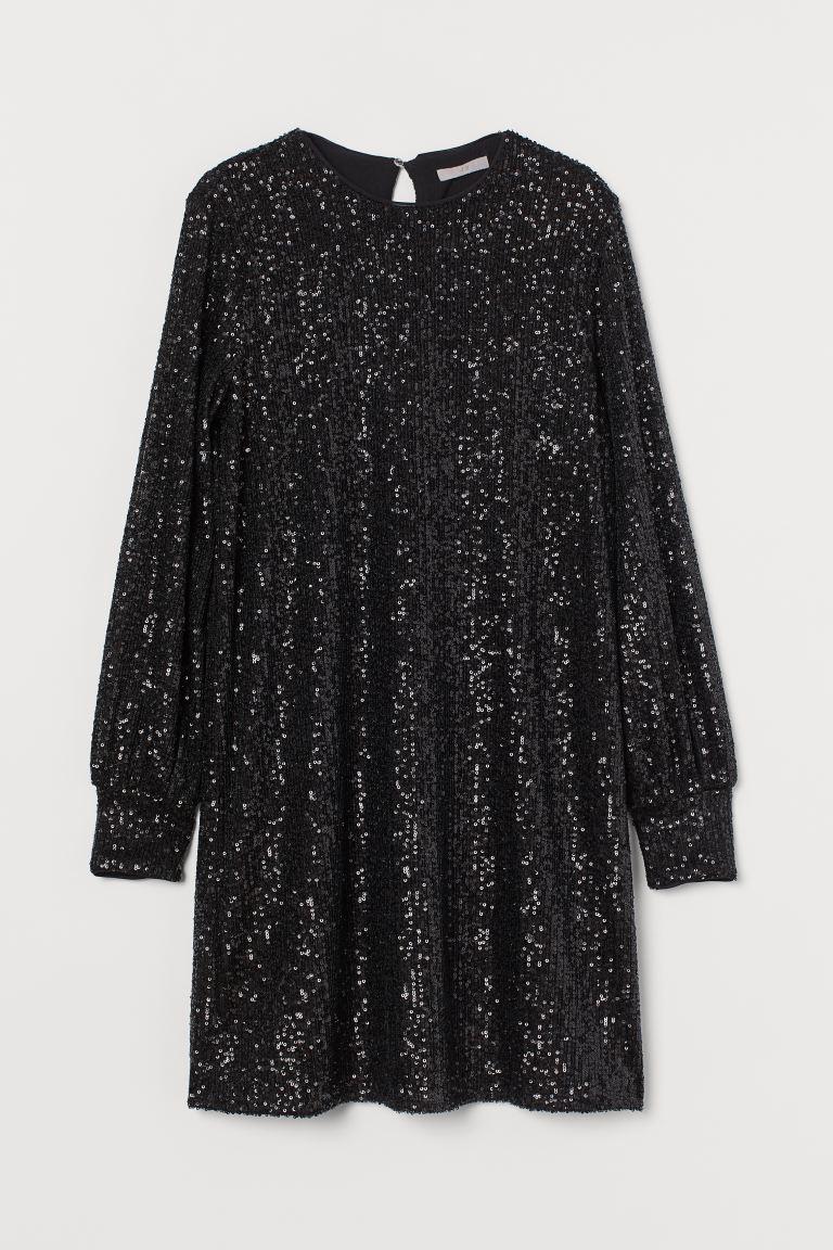 svart långärmad paljettklänning