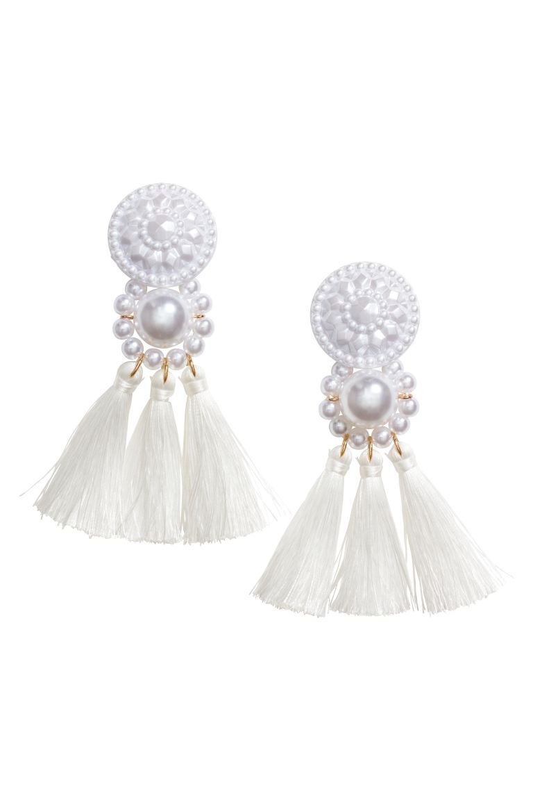Earrings with Tassels - Pearlescent - Ladies | H&M CA