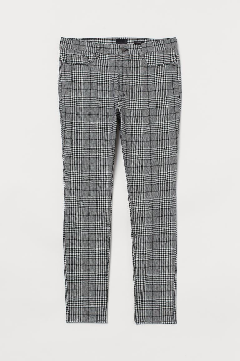 Twill trousers Skinny Fit - Black/White checked - Men | H&M