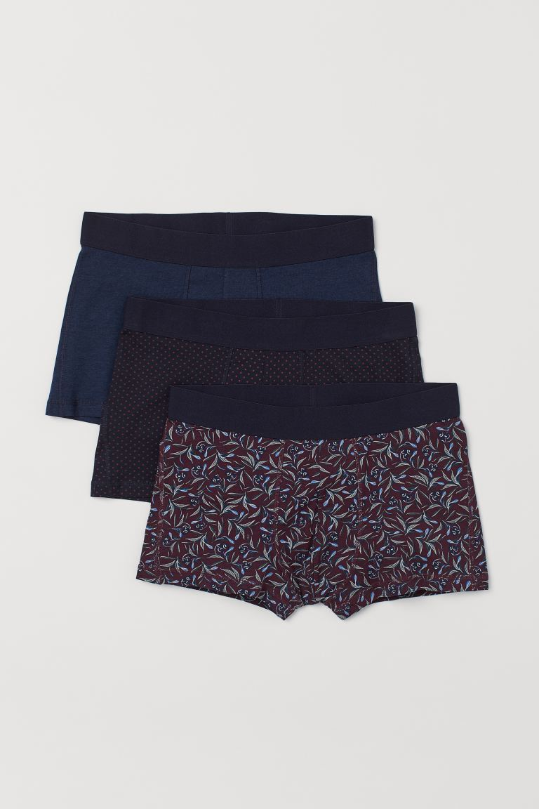 3-pack Short Boxer Shorts - Dark blue/dotted - Men | H&M CA
