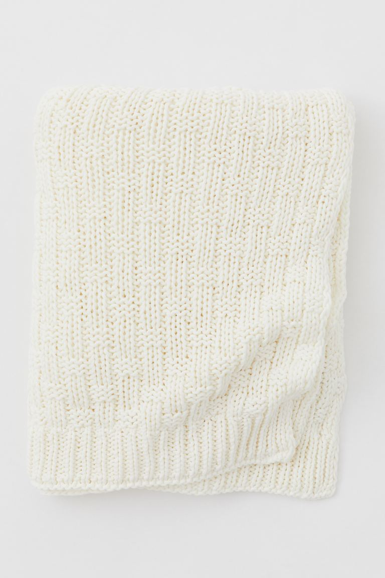 Textured-knit blanket - Natural white - Home All | H&M IE