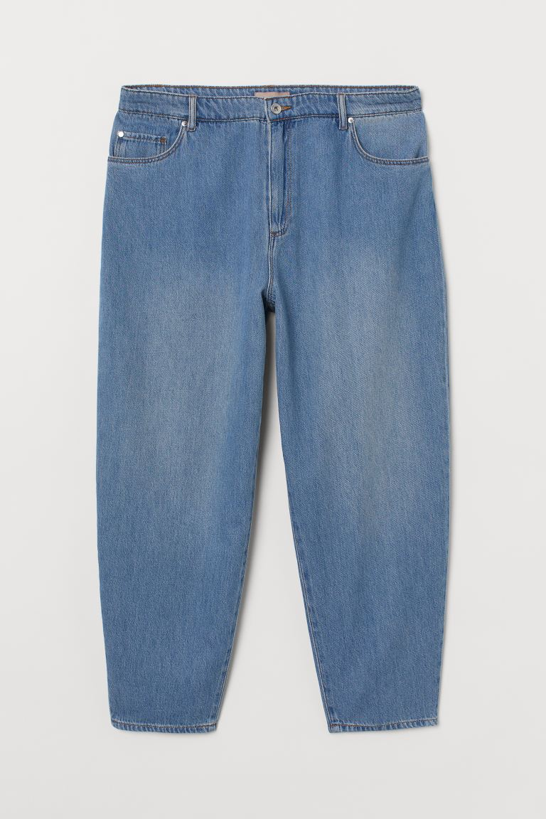 H&M+ Barrel Leg High Jeans - Denim blue - Ladies | H&M GB