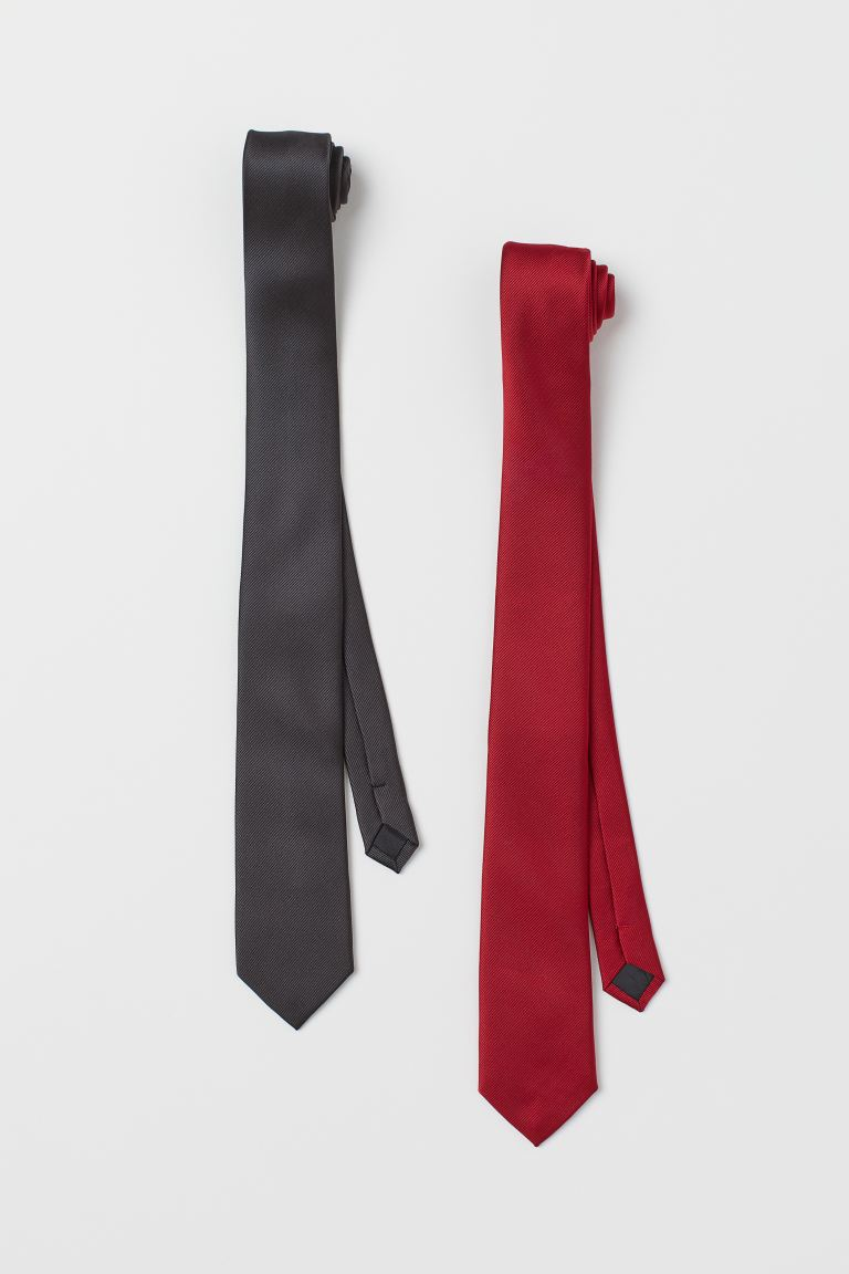 2-pack Ties - Dark gray/red - Men | H&M US