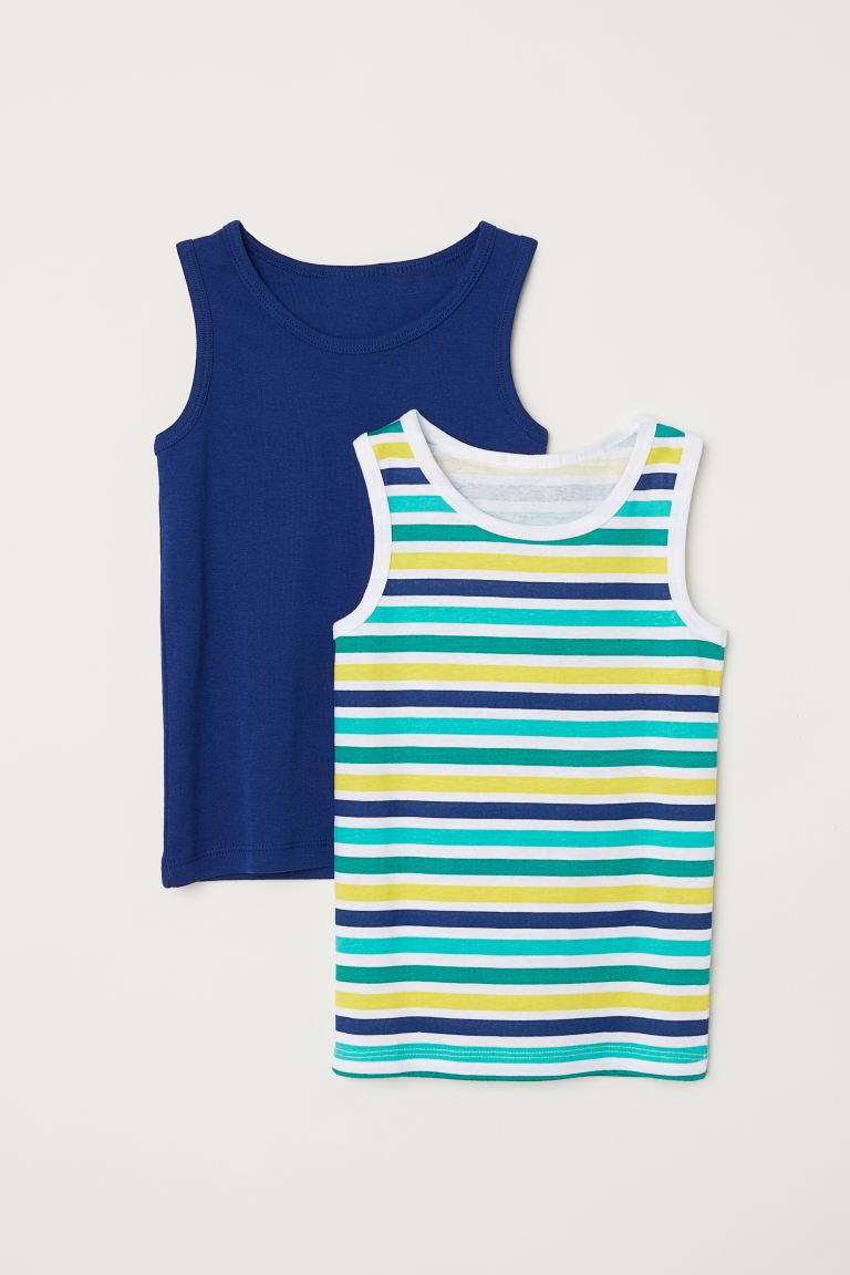 2-pack vest tops - Dark blue/Striped - Kids | H&M GB