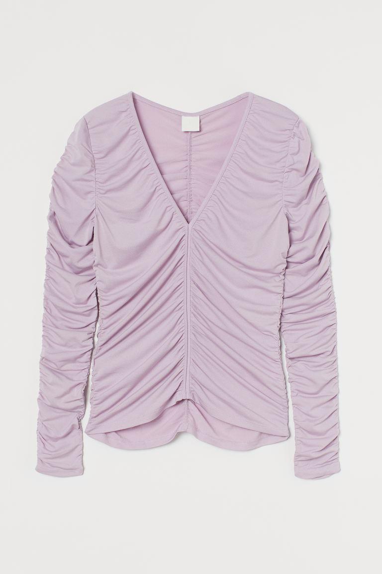 Gathered top - Lavender - Ladies   H&M GB