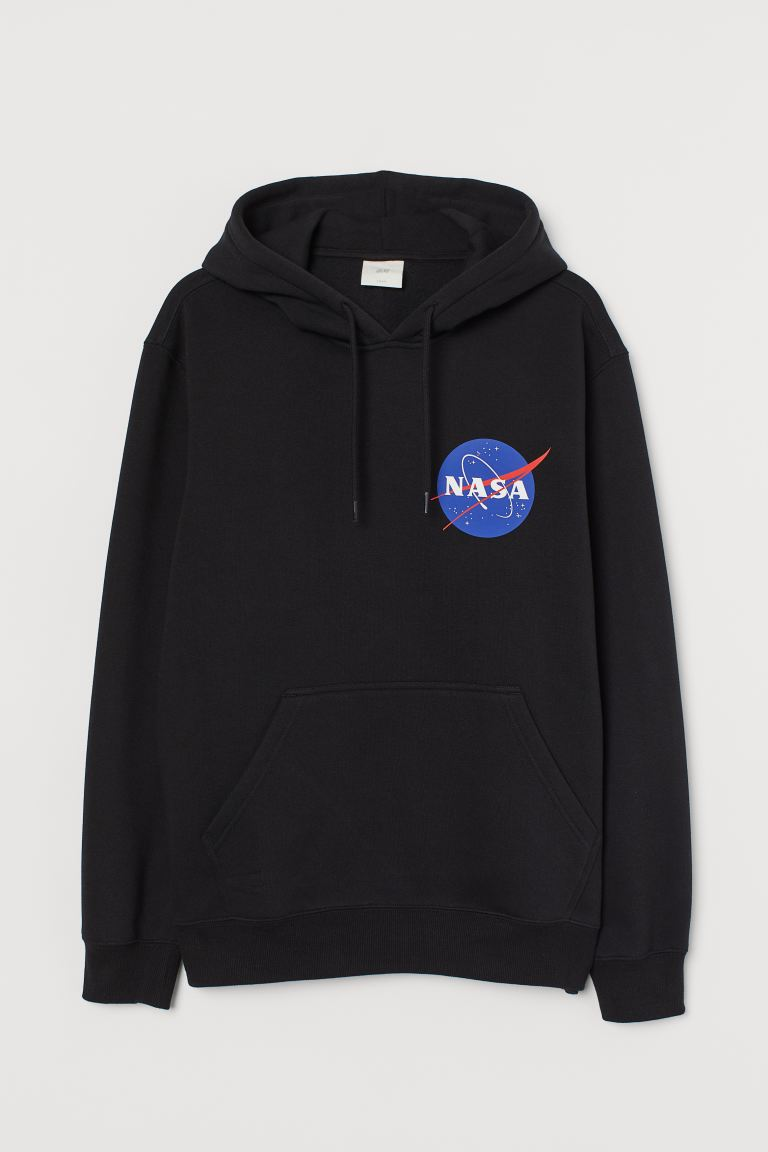 Printed hooded top - Black/NASA - Men | H&M GB