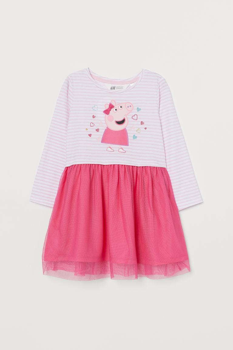 Jersey Dress with Tulle - Pink/Peppa Pig - Kids | H&M US
