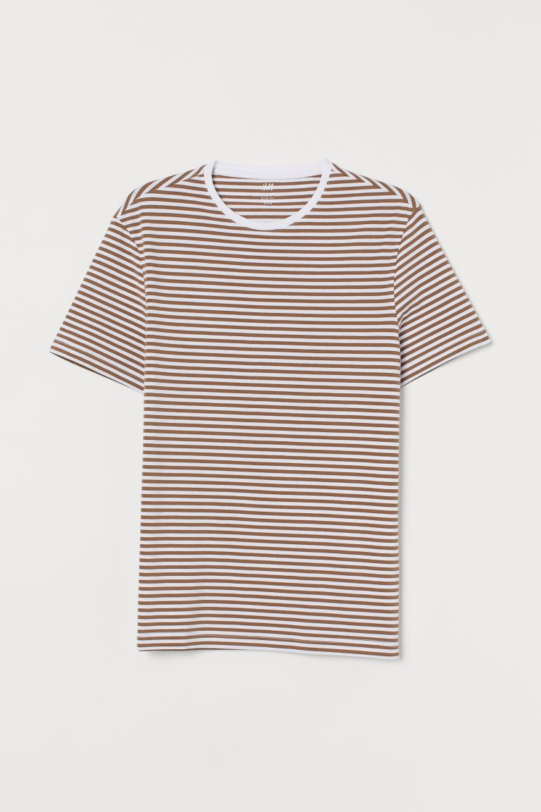 Round-necked T-shirt Slim Fit - Dark beige/White striped - Men | H&M GB