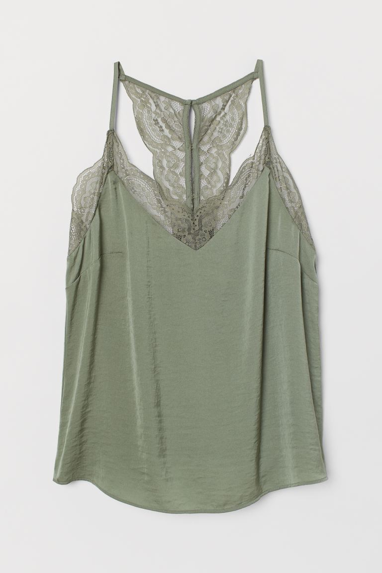 Satin top with lace - Khaki green - Ladies | H&M