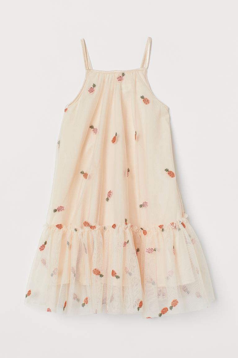 Appliquéd Tulle Dress - Apricot/pineapples - Kids | H&M US