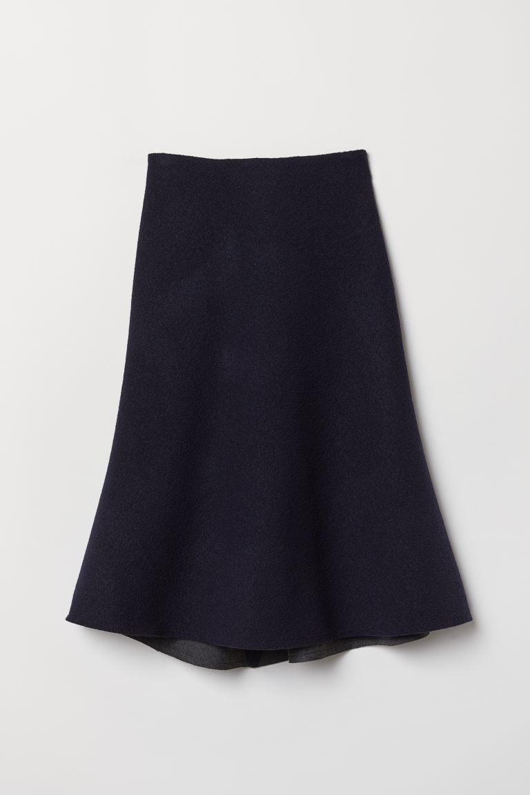 Knee-length wool skirt - Dark blue - Ladies | H&M