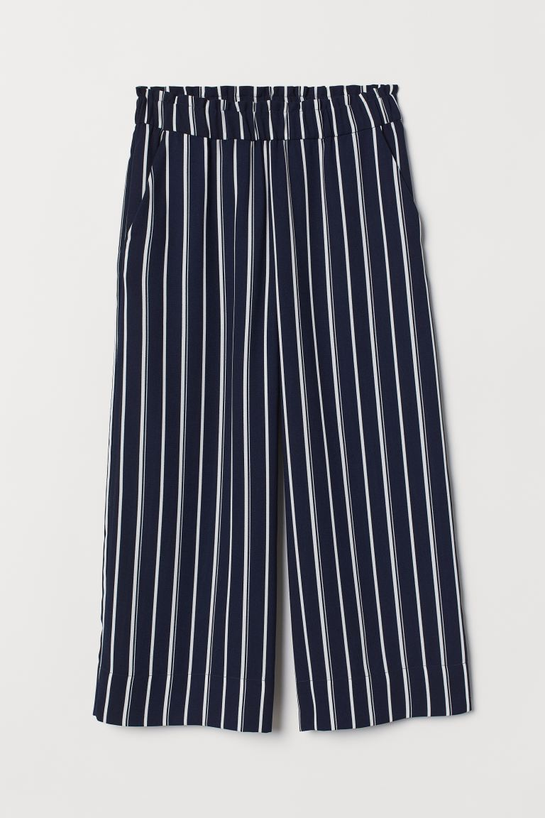 Pantaloni pull-on corti - Blu scuro/bianco righe - DONNA | H&M CH