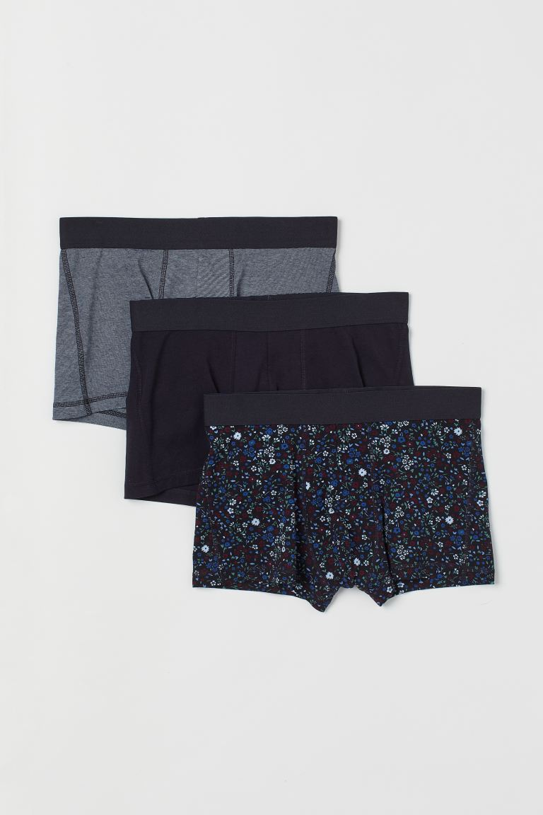 3-pack short trunks - Black/Floral - Men | H&M