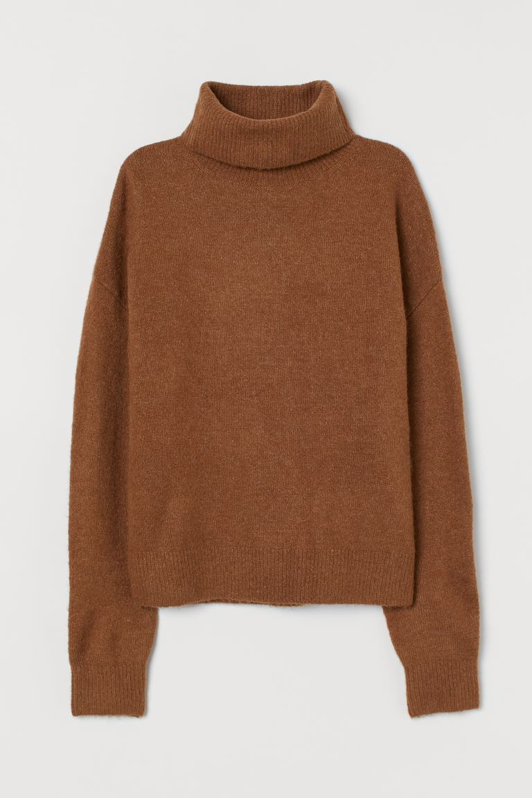 Knitted polo-neck jumper - Brown - Ladies | H&M GB