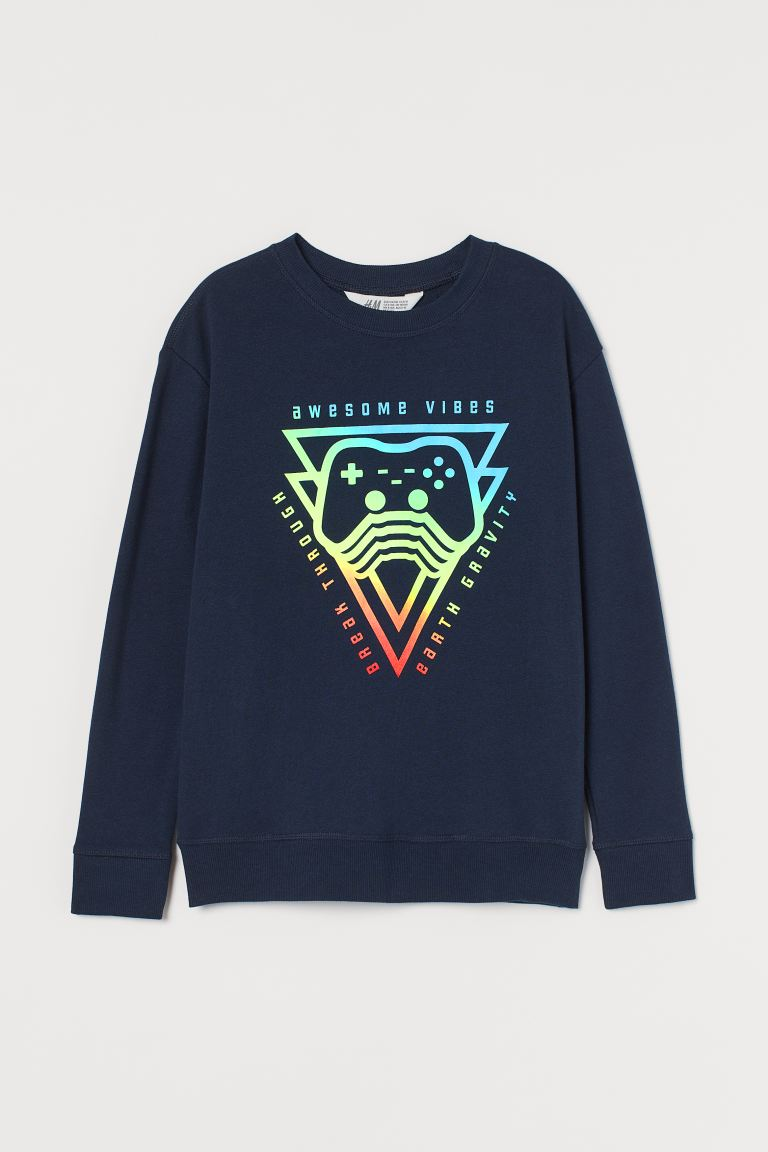 Printed sweatshirt - Navy blue/Awesome Vibes - Kids | H&M IE