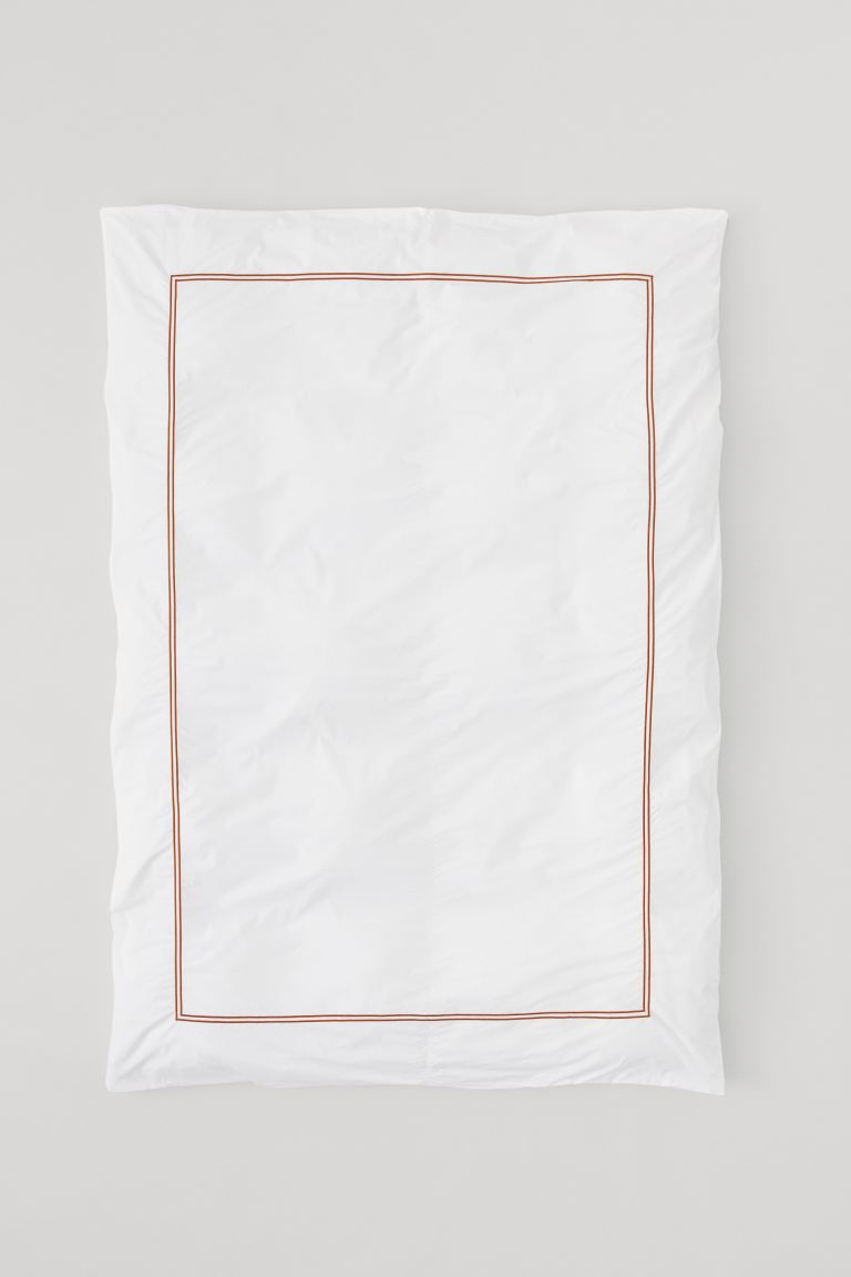 Cotton Percale Duvet Cover - White/brown - Home All | H&M CA