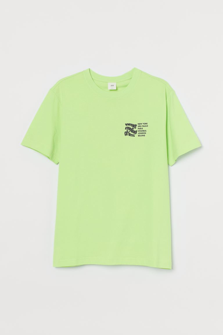 Printed T-shirt - Neon green/Never Ending Cities - Men | H&M