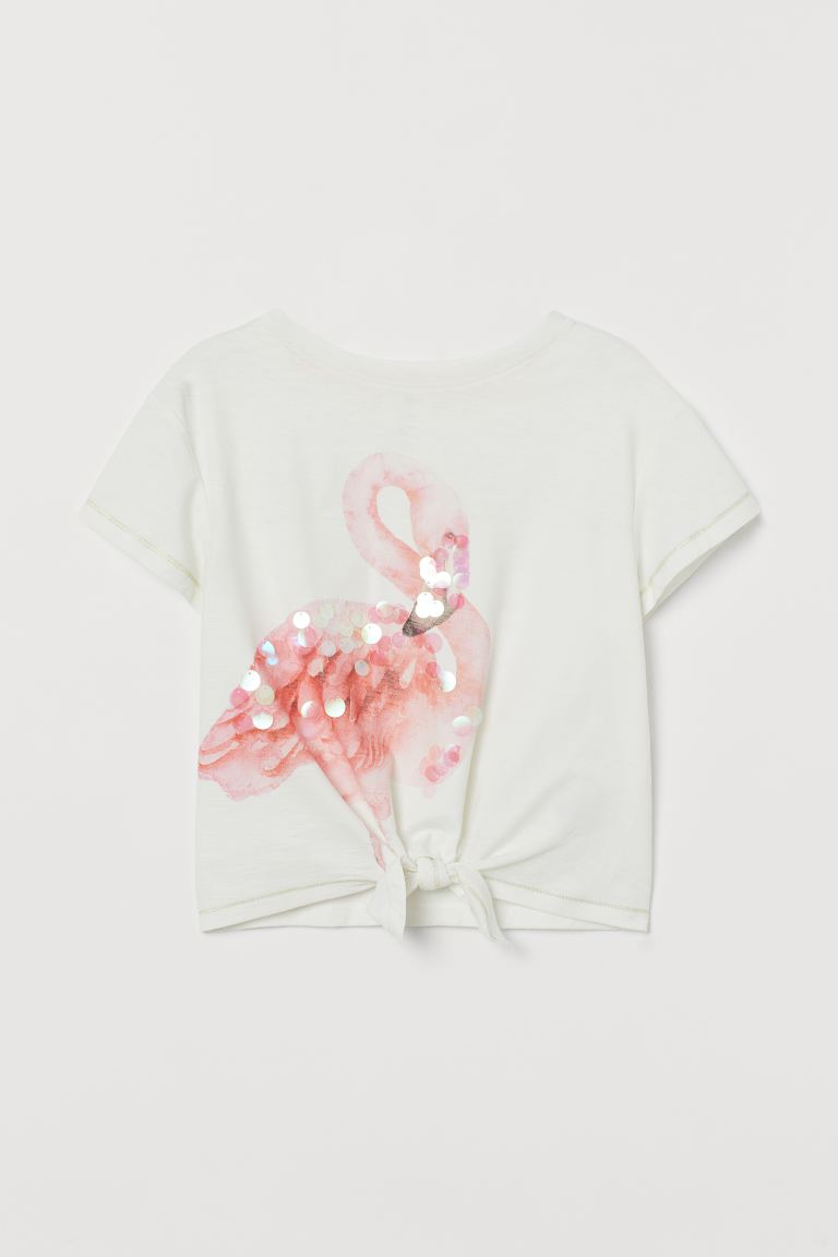 Tie Detail Tee - White/Flamingo - Kids | H&M AU