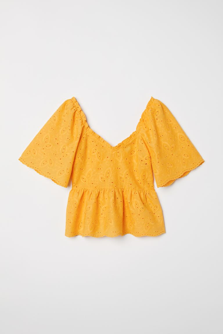 Embroidered cotton top - Yellow - Ladies | H&M GB