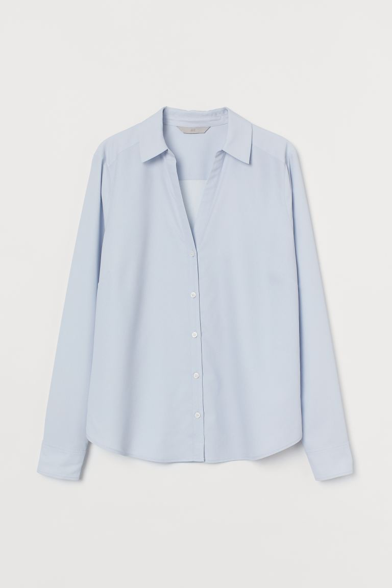 V-neck blouse - Light blue - Ladies | H&M IE