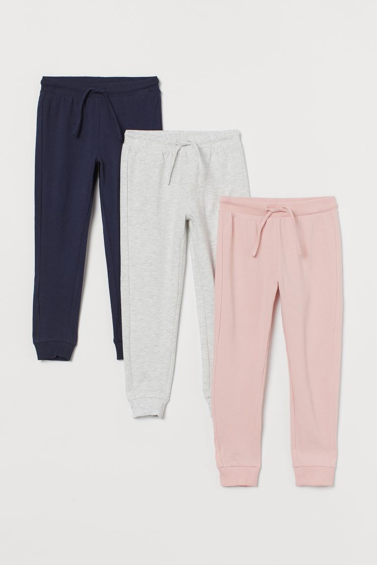 3-pack jersey joggers - Pink/Grey marl/Navy blue - Kids | H&M