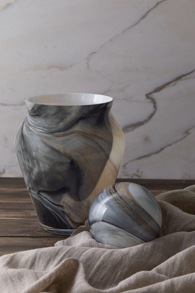 Large Glass Vase - Beige/black - Home All | H&M CA