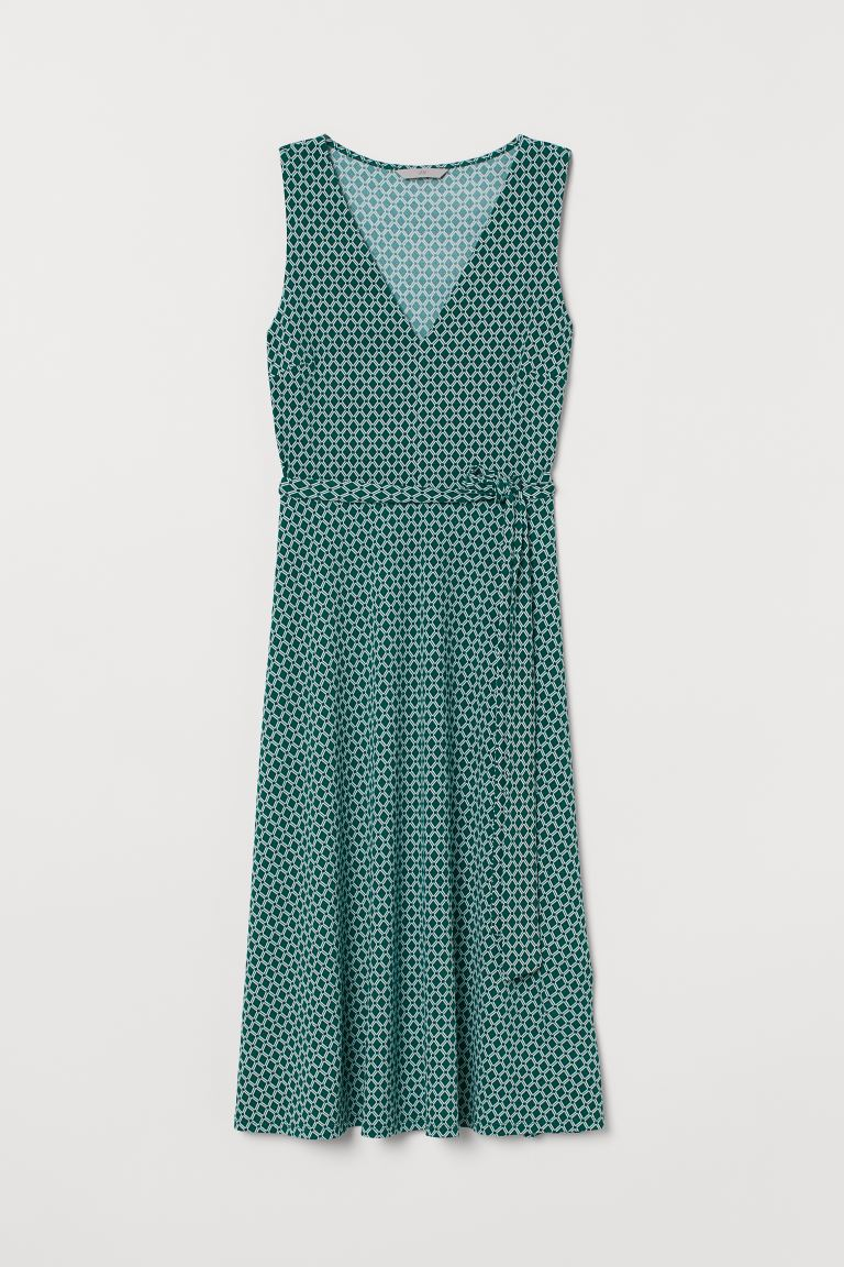 Dress with Tie Belt - Dark green/patterned - Ladies | H&M US